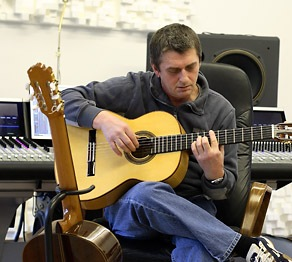 Mike Oldfield with guitars